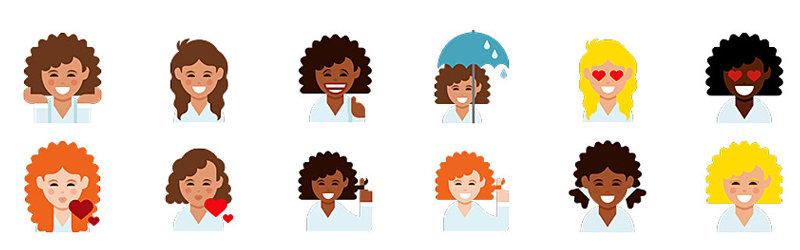 Emoji pre kučeravé ženy Dove